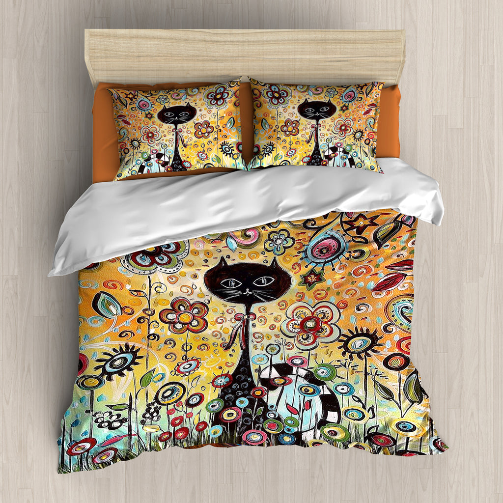 Cat and Colorful Flowers Bedding