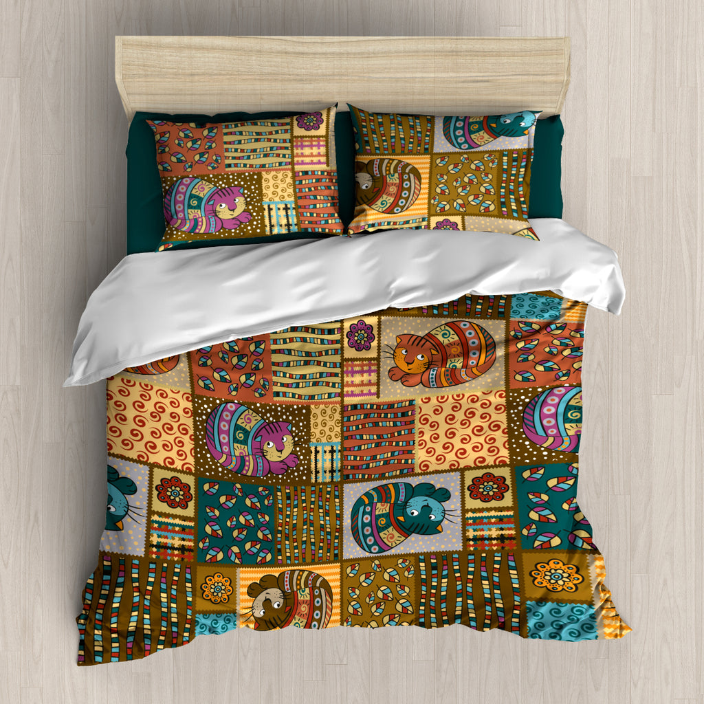 Cat Brown Vintage Bedding