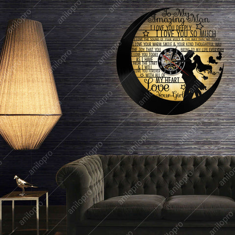 Image of Vintage Vinyl LP Record 3D Wall Clock - I Love Deeply, My Man