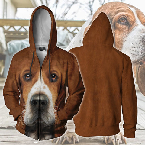 Image of Basset Hound Zip Up Hoodie