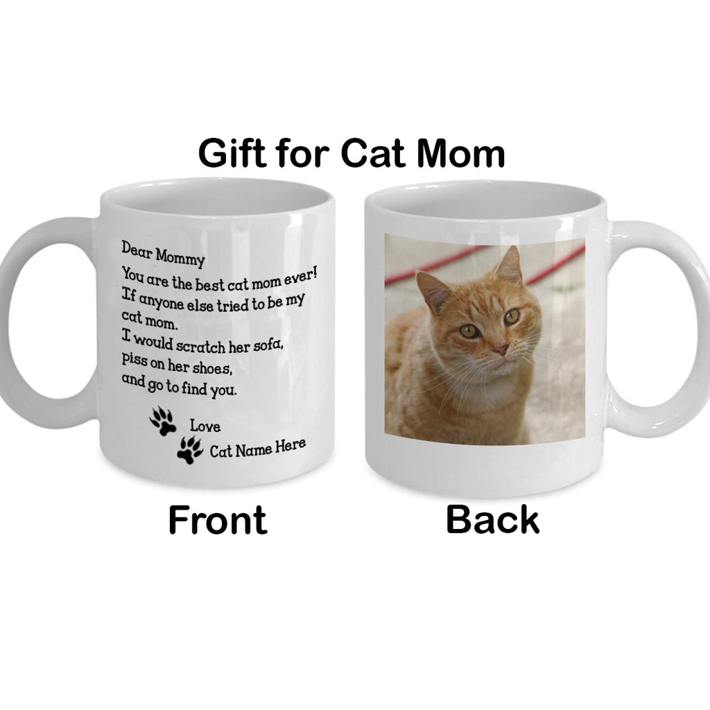 Cat Mom Mug - Gift for Cat Mom - Custom Photo Cat Mug