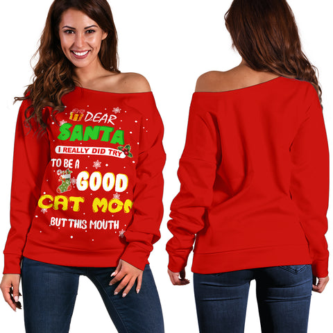 Image of A Good Cat Mom Women's Off Shoulder Sweater