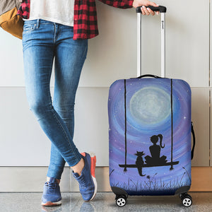 Girl and Her Cat Luggage Cover