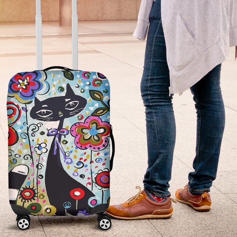 Flower Cat Luggage Cover