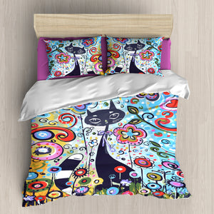 Flower Cat Bedding Set 3-4 Pcs/Set