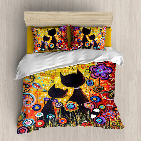 [B1007] Colorful Cat Bedding Set 3-4 Pcs/Set
