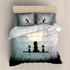 Girl And Cats Blue Bedding