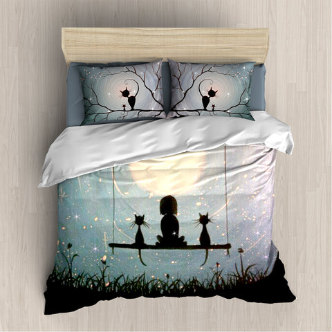 [B1009] Girl And Cats Blue Bedding