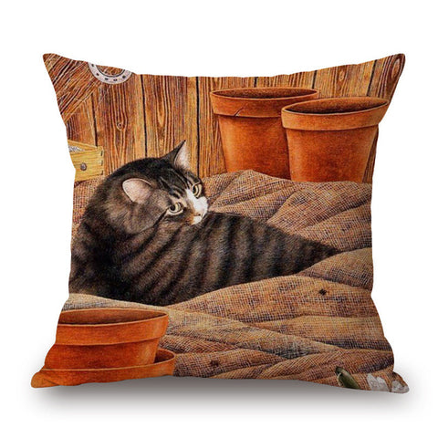 Image of Animal Cute Cat Printed Cotton Linen Pillowcase