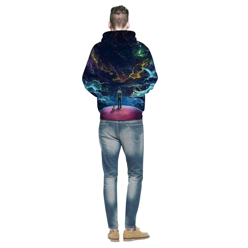 Colorful Clouds Sky Person and Dog Hoody Unisex Hooded