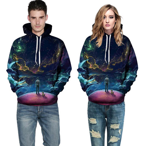 Image of Colorful Clouds Sky Person and Dog Hoody Unisex Hooded