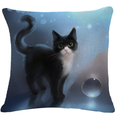 Image of Animal Cat 3D Cotton  Throw Pillow