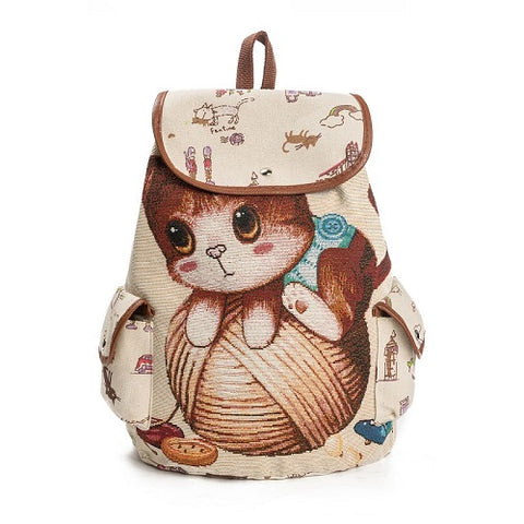 Image of Cat Printed Drawstring Backpack