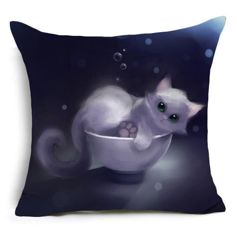 Image of Animal  Panda and Cat  Owl Polyester Pillow