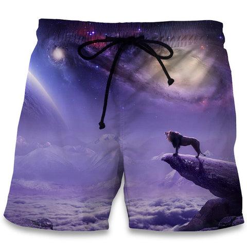 Image of 3D Animal Lionhead Print Shorts