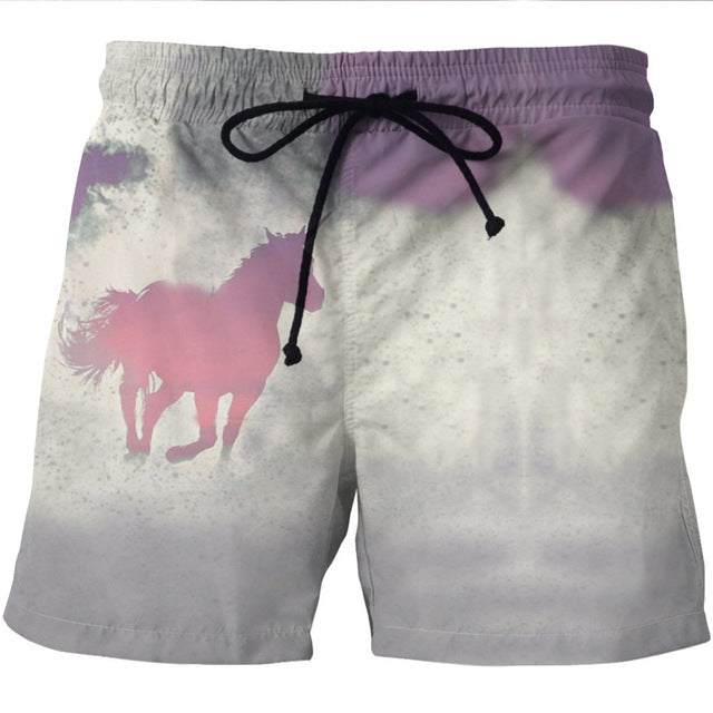 Jungle White Unicorn/Horse 3D Shorts