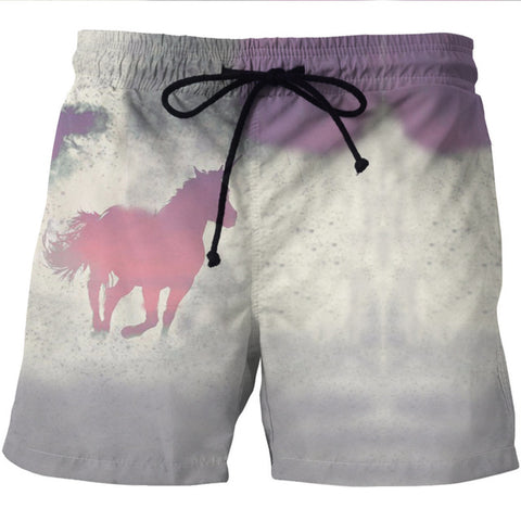 Image of Jungle White Unicorn/Horse 3D Shorts