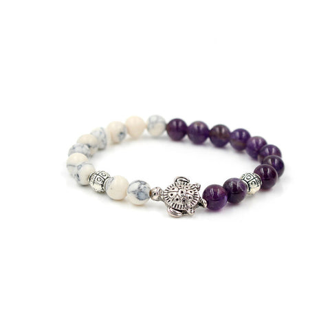 Image of Natural 8MM Purple Stone & White Turtle Charm Elastic