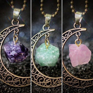 Natural Crystal & Crescent Moon Necklace