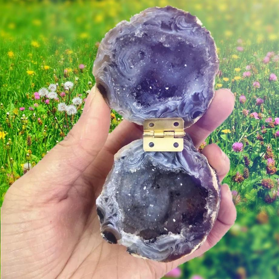 Dark Grey/Blue Geode Ring Box