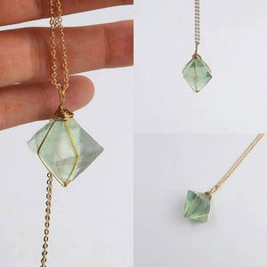 Wire Wrapped Fluorite Pendant Necklace