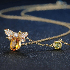 citrine peridot silver flight of the bee crystal necklace