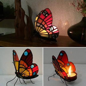 Stained Glass Butterfly Tea Light Candle Holder