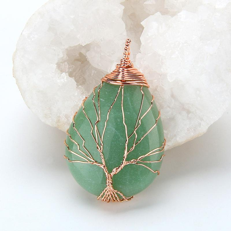 wire wrapped crystal pendant necklace adventurine rose quartz opal amethyst jasper handmade