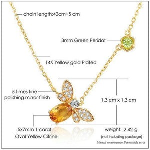 Flight of the Citrine Bee Pendant Necklace