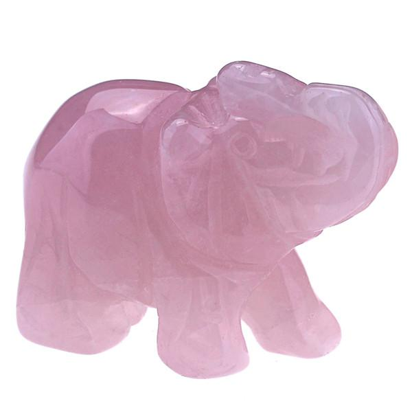 Hand-Carved Natural Crystal Elephants