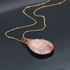 wire wrapped crystal natural stone pendant necklace jewelry healing rose quartz