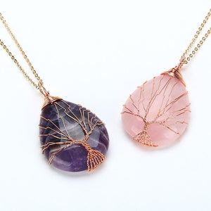 wire wrapped crystal natural stone pendant necklace jewelry healing amethyst rose quartz