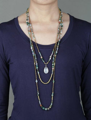 India Onyx Teardrop Layered Necklace