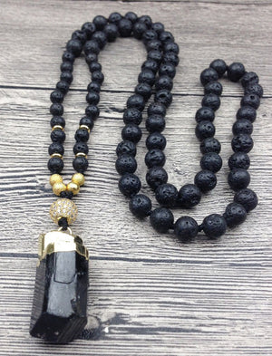 Tourmaline and Lava Stone Beaded Necklace