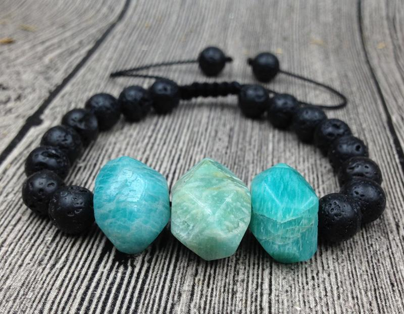Amazonite Lava Stone Beaded Bracelet