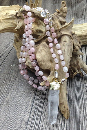 Clear and Rose Quartz Beaded Necklace