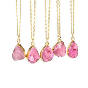 Pink Druzy Stone Necklace
