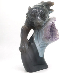 Amethyst Agate Hunting Tiger Carving Geode