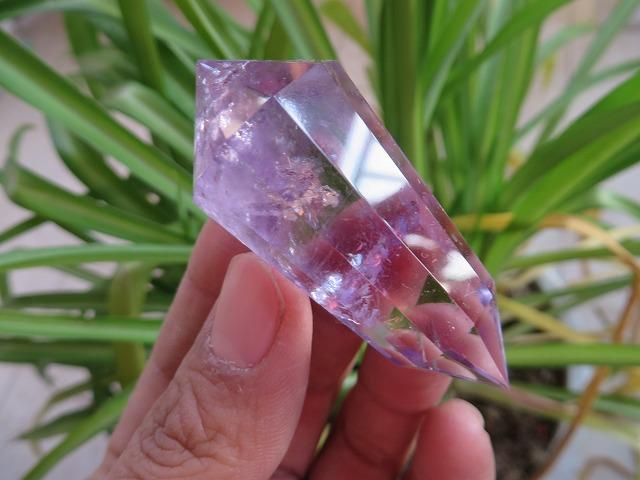 12 Sided Amethyst Wand with Rainbow Inclusions
