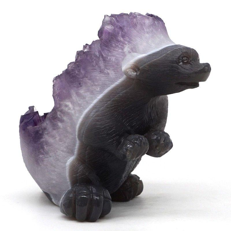 1.8 lb Amethyst and Agate Hedgehog Carving Geode