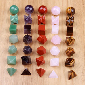 Carved Platonic Solids (5 Stone Types)