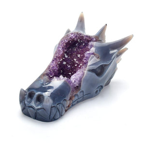 1.9lb Amethyst Agate Dragon Head Carved Geode