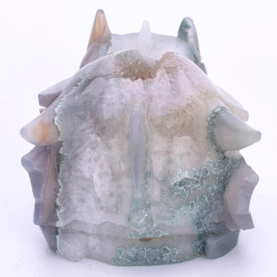 4381g Agate Geode Dragon Head Carving