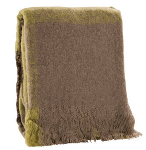 "500g Faux Mohair Green Check Throw 50"" X 60"""