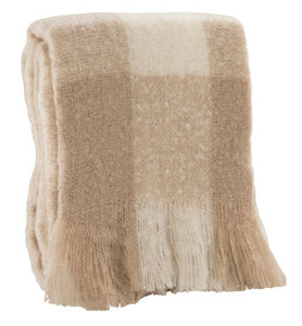 "500g Faux Mohair Sand Check Throw 50"" X 60"""