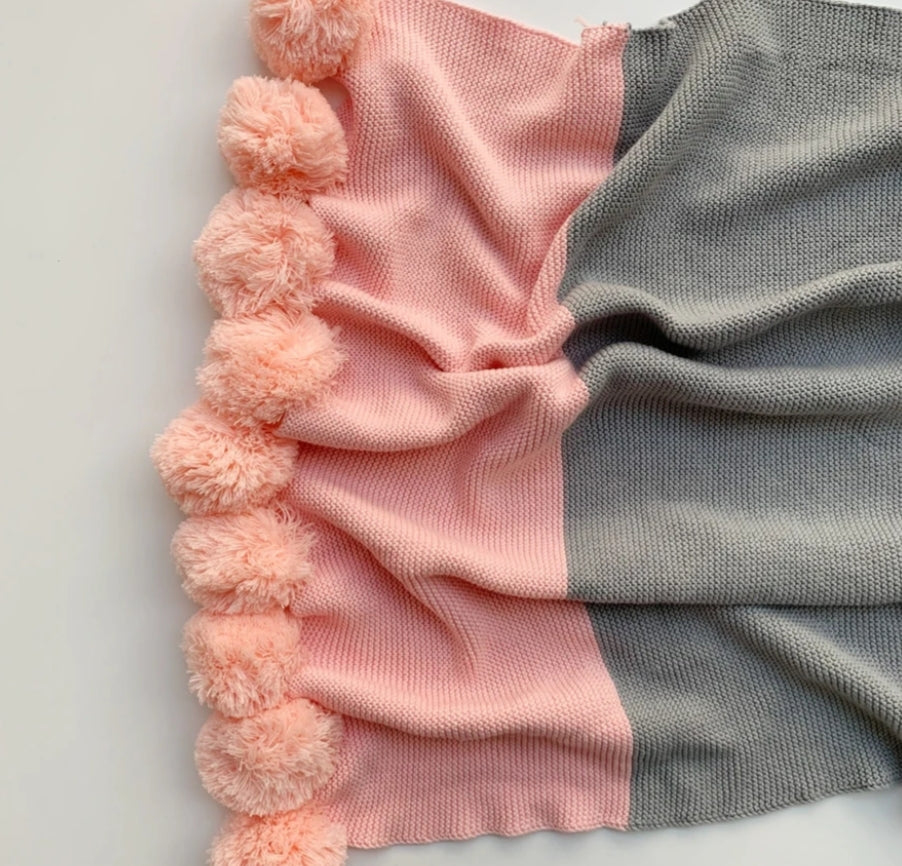 Grey And Pink Pompom Blanket