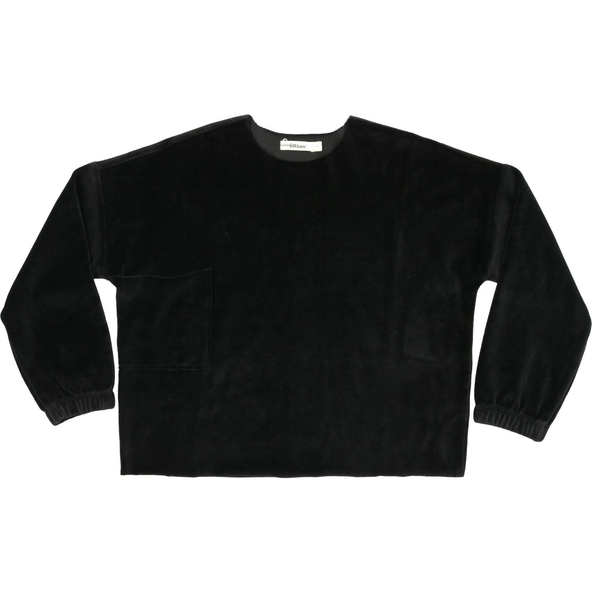 Black Oversized Velour Top