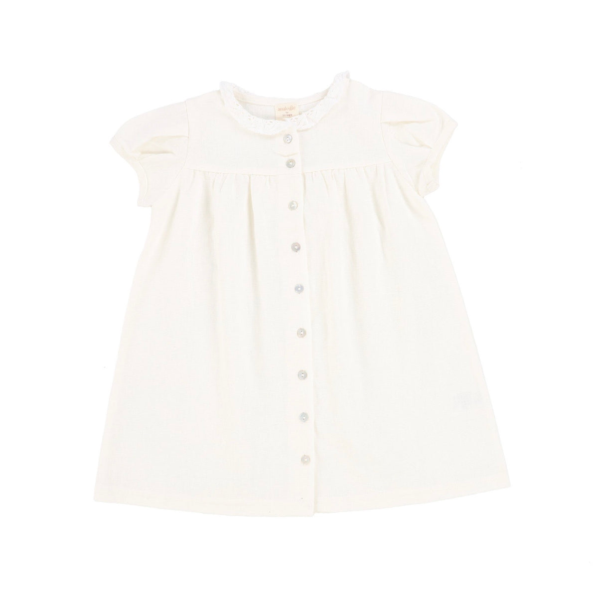 White Short Sleeve Linen Collar Dress