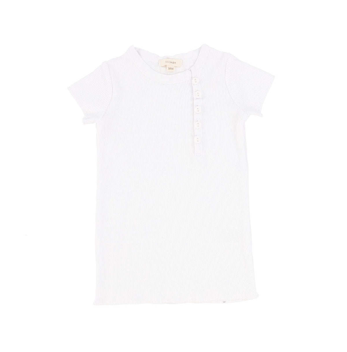 White Short Sleeve Sideway Button T-Shirt