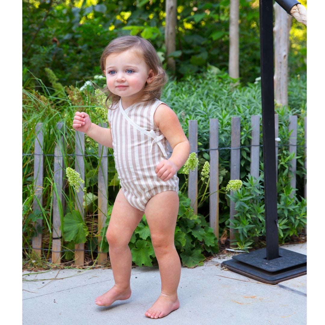 Tan Striped Girl Romper